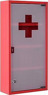 HOMCOM Armoire à Pharmacie 3 étagères 4 Niveaux verrouillable Porte Verre trempé dépoli Logo Croix 30L x 12l x 60H cm Acie...