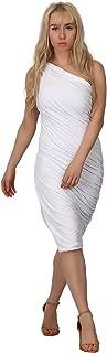 one shoulder twisted ruffle dress