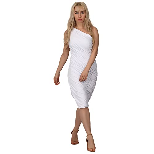 012ab1efd41 HDE Women s One Shoulder Midi Cocktail Dress