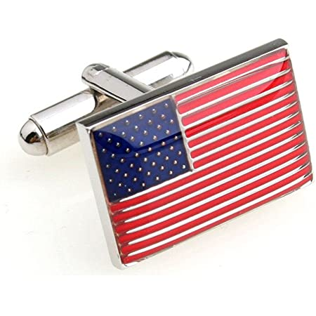 Perfect Birthday or Anniversary Gift Silver Cufflink Box Included in Price Woven American Flag Accents AMERICAN FLAG CUFFLINKS 3a2