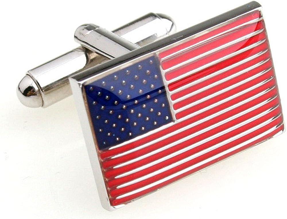 MRCUFF American Flag USA America Pair Cufflinks in a Presentation Gift Box & Polishing Cloth