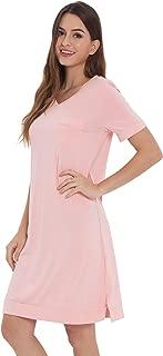 Nightshirts Short Sleeve Sleep Shirts V Neck Sleepwear for Women S-4X