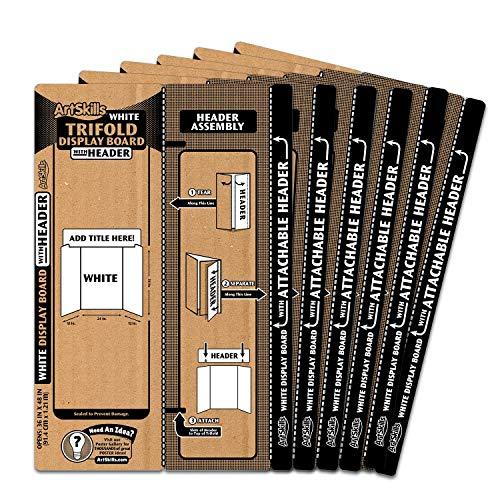 ArtSkills Tri-Fold Display Boards, 36' x 48', White, 6 Count