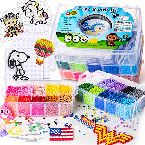 shinshin creation 22,000 Fuse Beads 5mm with 100 Full Size Patterns, 20 Pre-Sorted Colors, 4 Big Pegboards, Perler Hama Melty Iron Beads Compatible