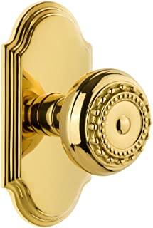 Grandeur 822131 Arc Plate Privacy with Parthenon Knob in Lifetime Brass, 2.375
