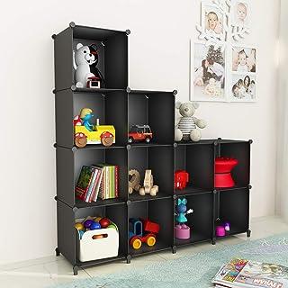SIMPDIY DIY Regalsystem, Steckregal Standregal mit 12 Würfeln, Kleiderschrank für Schlafzimmer badregal,schuhregal im Wohnzimmer, 124 x 93x 30cm, Schwarz
