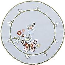 Tischdecke Mitteldecke 90 x 90 cm Farfalla 03035  aprikot  Schmetterling SALE