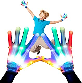 Feeke Kids Flashing LED Gloves Cool Fun Toys- Light-up Party LED Party Supplies Gloves Multicolor Led Glove for Halloween,Dance Costumes