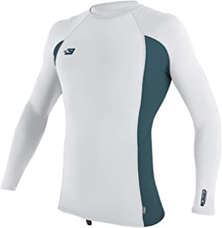 O'Neill Wetsuits Men's Premium Skins UPF 50+ Long Sleeve Rash Guard, White/Teal/White, Small