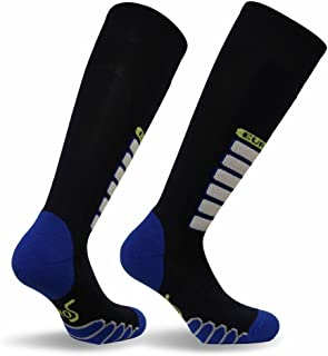 Eurosocks Snow Ski Socks, Ultra Smooth No Bunching, No Pinch Seamless Toe, Padded Shin Protection Comfort-3211