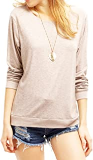 Haola Women's Long Sleeve Tops Round Neck Casual Teen Girls Tees Loose T Shirts Blouse