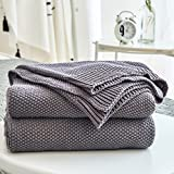 Dark Grey Cotton Cable Knit Throw Blanket for Couch Sofa Chair Home Decorative, Dark Gray 50 x 60 Inch 2.2 Pounds