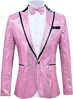 Generic Mens Fashion One Button Shiny Sequins Suit Party Dress Blazer Suit Jacket