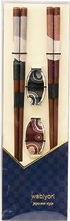 イシダ ギフトに最適な夫婦箸 箸置付 2膳組 WABIYORI 絹風 60184