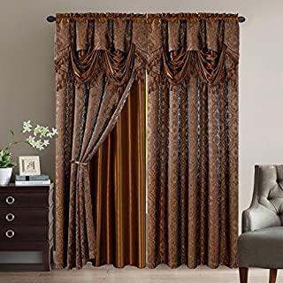 Elegant Home Window Curtain Drapes All-in-One Set with Valance & Sheer Backing & Tassels for Living Room, Bedroom, Dining Room, and Sliding Doors - Sandra (Brown)