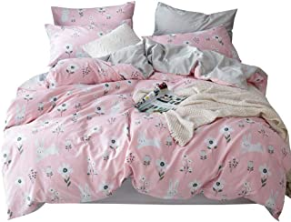 OTOB Cartoon Rabbits Bunny Twin Duvet Cover Set for Kids Toddler 100% Cotton Lightweight Breathable 3 Pieces Pink Girls Bedding Set with Pillowcases Reversible Child Flower Floral Bed Gift Sets, Twin