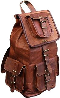 Mochila de viaje retro de 20 pulgadas, bolsa de cuero marrón para hombres y mujeres
