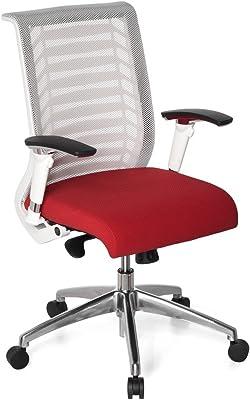 hjh OFFICE Avatar Style Sedia da Ufficio/Poltrona Presidenziale, 100% Poliestere, Bianco/Rosso