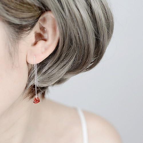 5a3dcf06f A&C Fashion Korean Version Red Rhinestones Heart Earrings for Women. Unique  Handmade Earrings Jewelry for