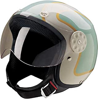HCI Open Face Fiberglass Motorcycle Helmet Green/Gold w/Face Shield 15-660