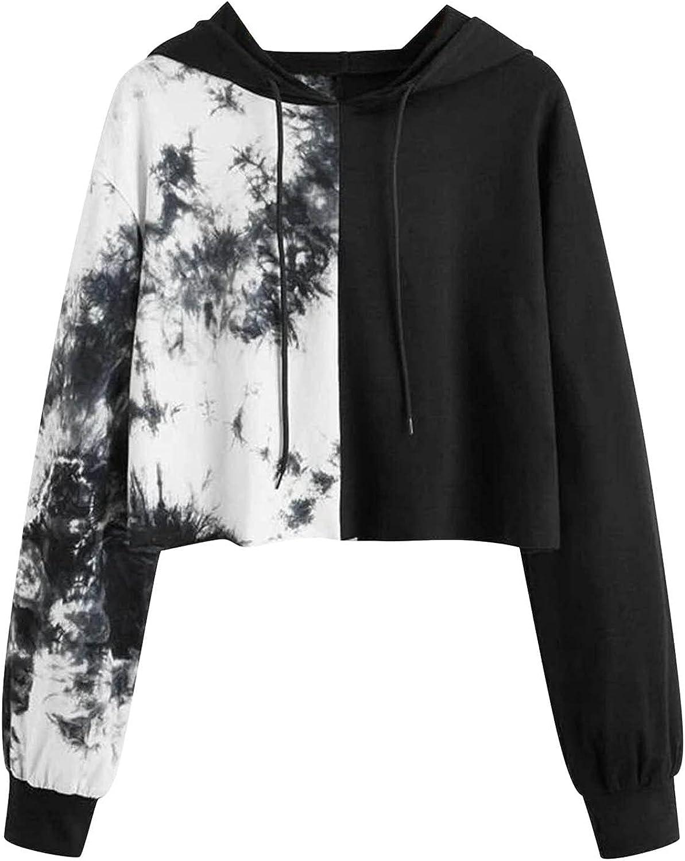 Aiouios Hoodies for Women Teen Girls Fashion Crop Pullover Casual Long Sleeve Drawstring Loose Sweatshirts Hooded Tops