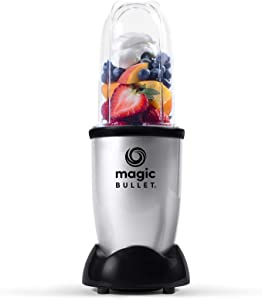 Magic Bullet Essential Personal Blender, Silver - 250W Motor with Tall Cup, stainless steel cross blade and 1 to-go lid