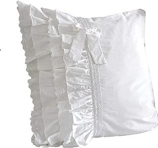 Queen's House Elegant Shabby White Euro Shams Covers Set of 2-I