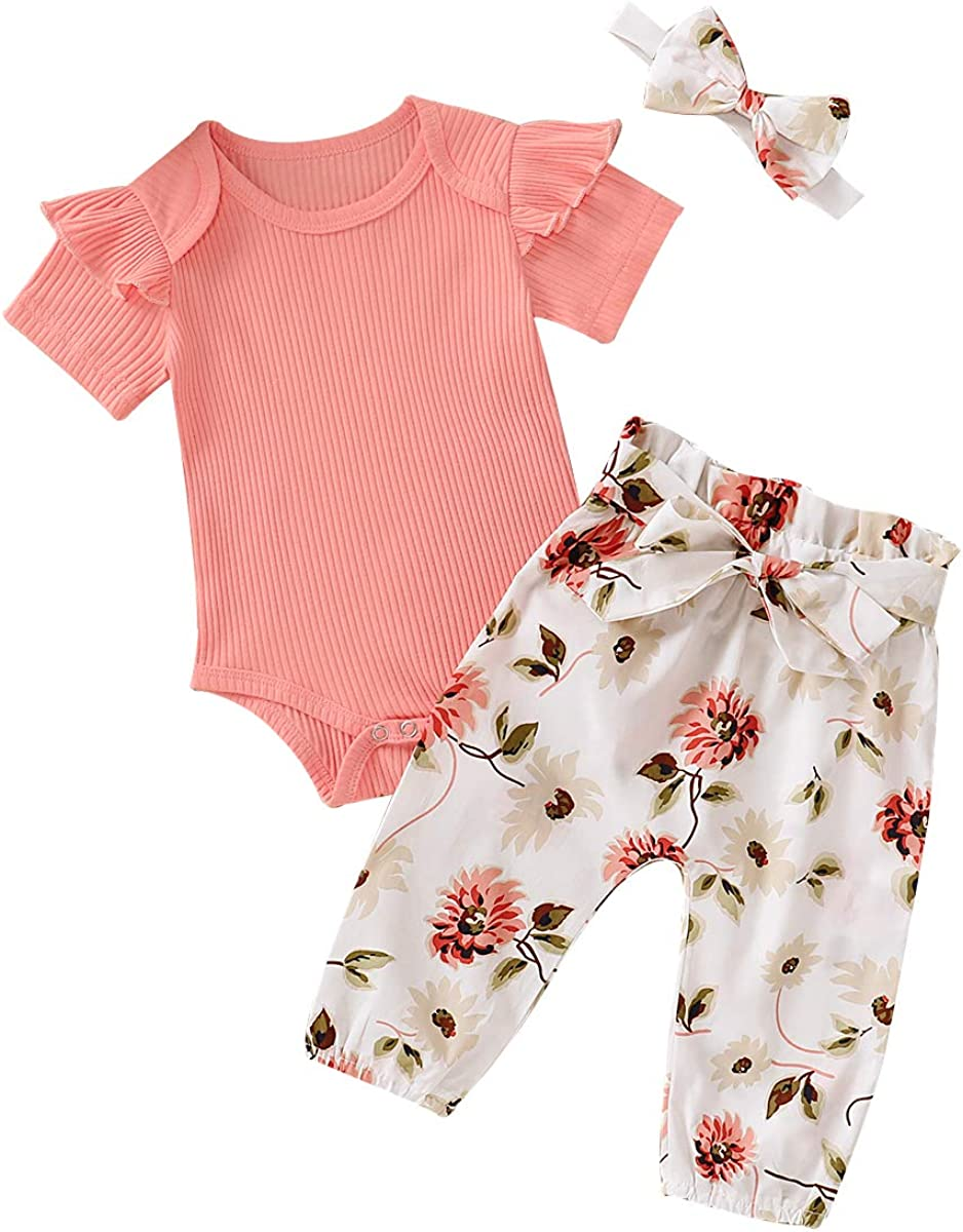 3pc Clothes Set Newborn Twins Baby Girl Long Sleeve Romper Bodysuit Floral Pants Headband Outfits