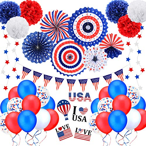 Patriotic Party Decorations, 45Pcs 4th of July Decorations Set, Including Red White Blue Paper Fans,...