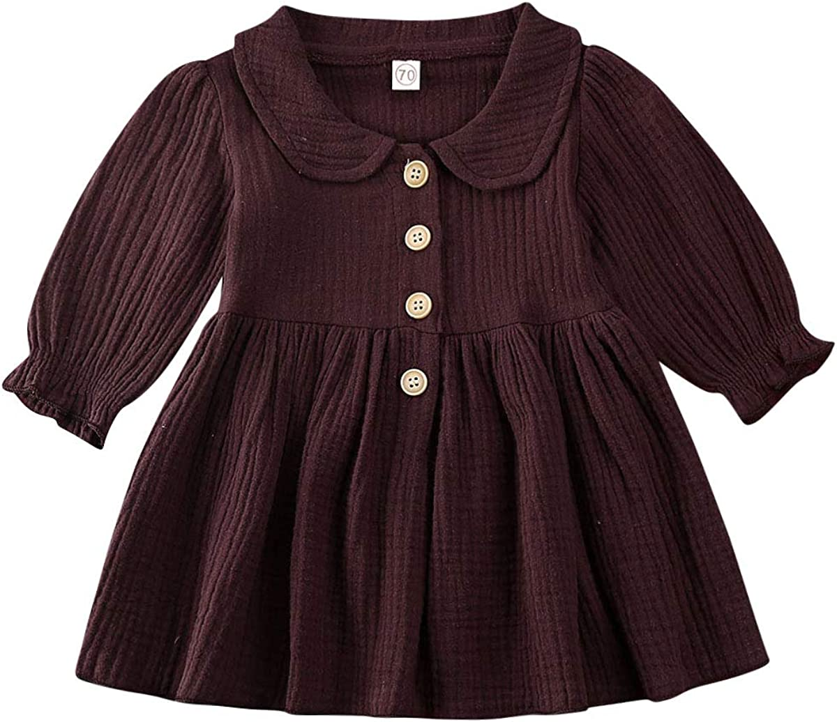 Toddler [Alternative dealer] Baby Girls Solid Dress Clothes Ruffled Excellent Long Sleeve Butto