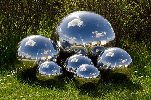 Köhko Gartenkugel 4-150 cm (Größe 25 cm) poliert aus hochwertigem Edelstahl Dekokugel Gr. 25 cm