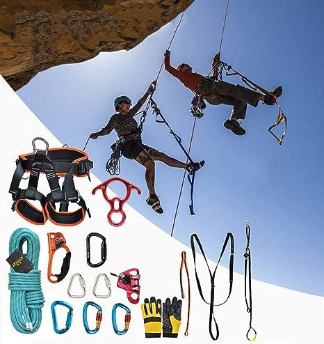 HMLIGHT Outdoor Rock Climbing Equipment Mountaineering Climbing Rope Set  with Safety Belt/Buckle/Descender/Riser/Storage Bag,10m: Amazon.co.uk:  Garden & Outdoors