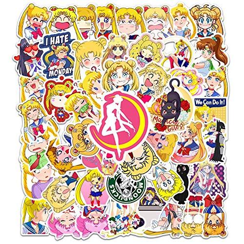 BUCUO Sailor Moon Pegatina de Dibujos Animados monopatín Maleta portátil Taza de Agua Guitarra Impermeable Graffiti Pegatina 50 Uds