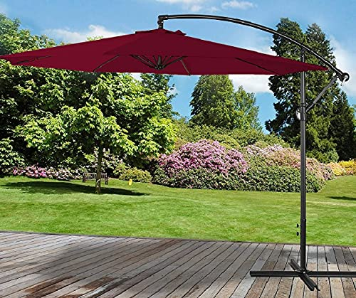 3M Cream Garden Outdoor Banana Parasol Sun Shade Patio Hanging Umbrella Cantilever