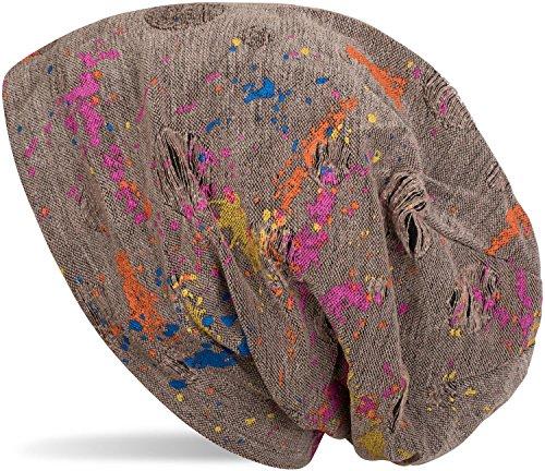 styleBREAKER Beanie Mütze mit Splat Style Farbklecks Muster im Used Look Vintage Design, Slouch Longbeanie, Unisex 04024118, Farbe:Braun