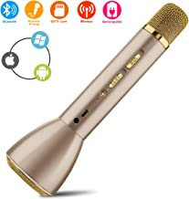 Wireless Karaoke Microphone,Bluetooth Handheld Karaoke Machine with Speaker Mic Voice Recording Echo USB Party KTV Home Mike Systems,Portable Music Singing Equipment for Phone Android Kids Adults
