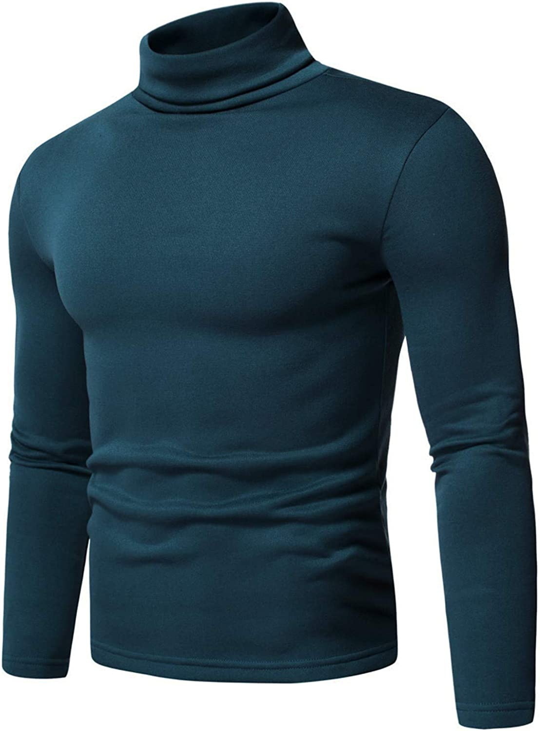 BEIBEIA Men Turtleneck Long Sleeve Tops Solid Stretch Slim Fit Bottoming Shirts Basic Pullover Sweaters Thermal Tee