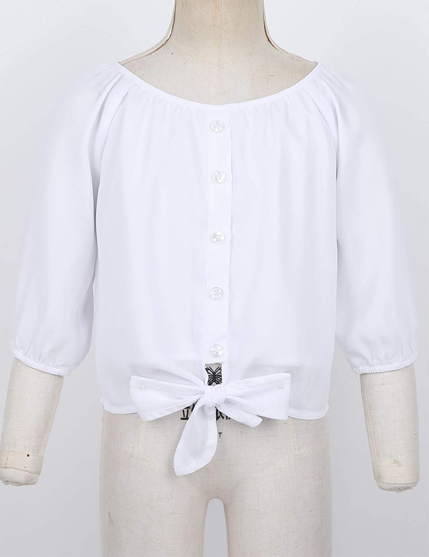Alvivi Blusa Blanca Niña Manga Corta de Gasa Camisa Otoño ...
