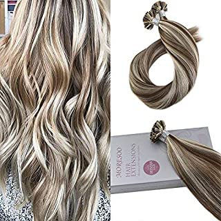 Moresoo 20 Inch U Tip Human Nail Hair Remy Human Hair 1Gram 1Strand Pre-bonded Hair Extensions Color #9A Brown Highlighted with #60 Blonde Total 50Grams 50Strands Per Pack