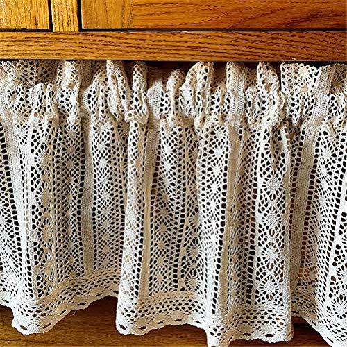 ACMHNC Cortina Corta con Bordado de Crochet, Media Cortina de Estilo Rústico para Cocina Cocina Armario Fregadero Balcón Sala de Estar y Comedor, 1 Pieza,Beige,W x H 110x90cm