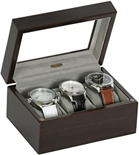 Mele & Co. Granby Glass Top Wooden Watch Box (3 Sections, Mahogany Finish)