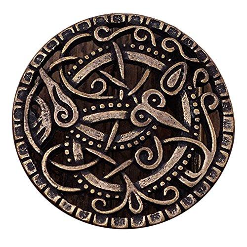 Battle-Merchant Gürtelschnalle nach Vorbild der Wikinger Pitney-Brosche für Gürtel bis 3 cm Breite Silber oder Bronze LARP Mittelalter Wikinger (Bronze)