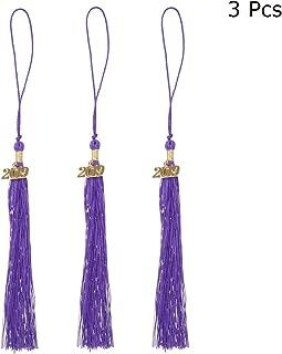 JANOU Graduation Tassels with 2019 Purple Graduation Gown Tassels Accessory for Graduation Cap Graduation Costumes Party Suppliers Pack 3pcs