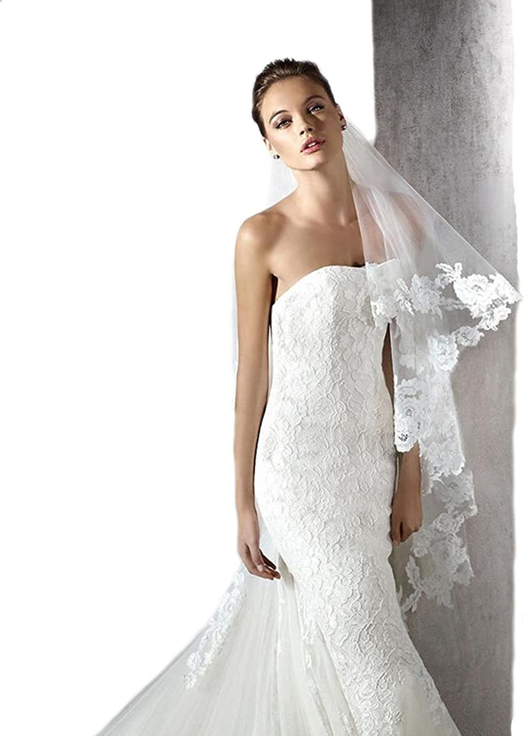 Gogh Wedding Bridal Veil NEW   Short Veil with Lace Fabric Flowers Style 25