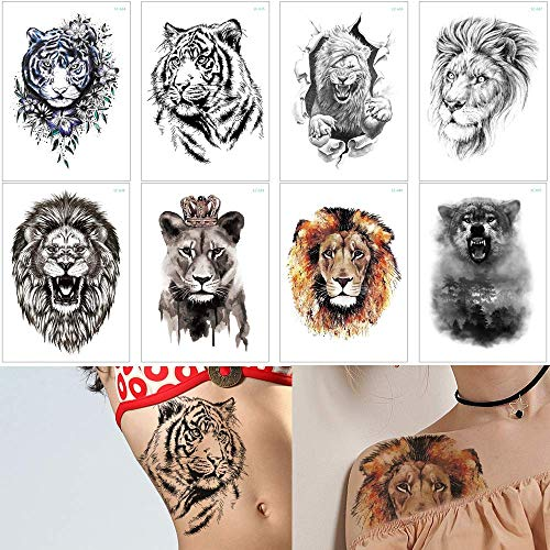 8 Sheets Tiger Lion Forest Design Temporary Tattoo Sticker Water Transfer Fake Tattoo