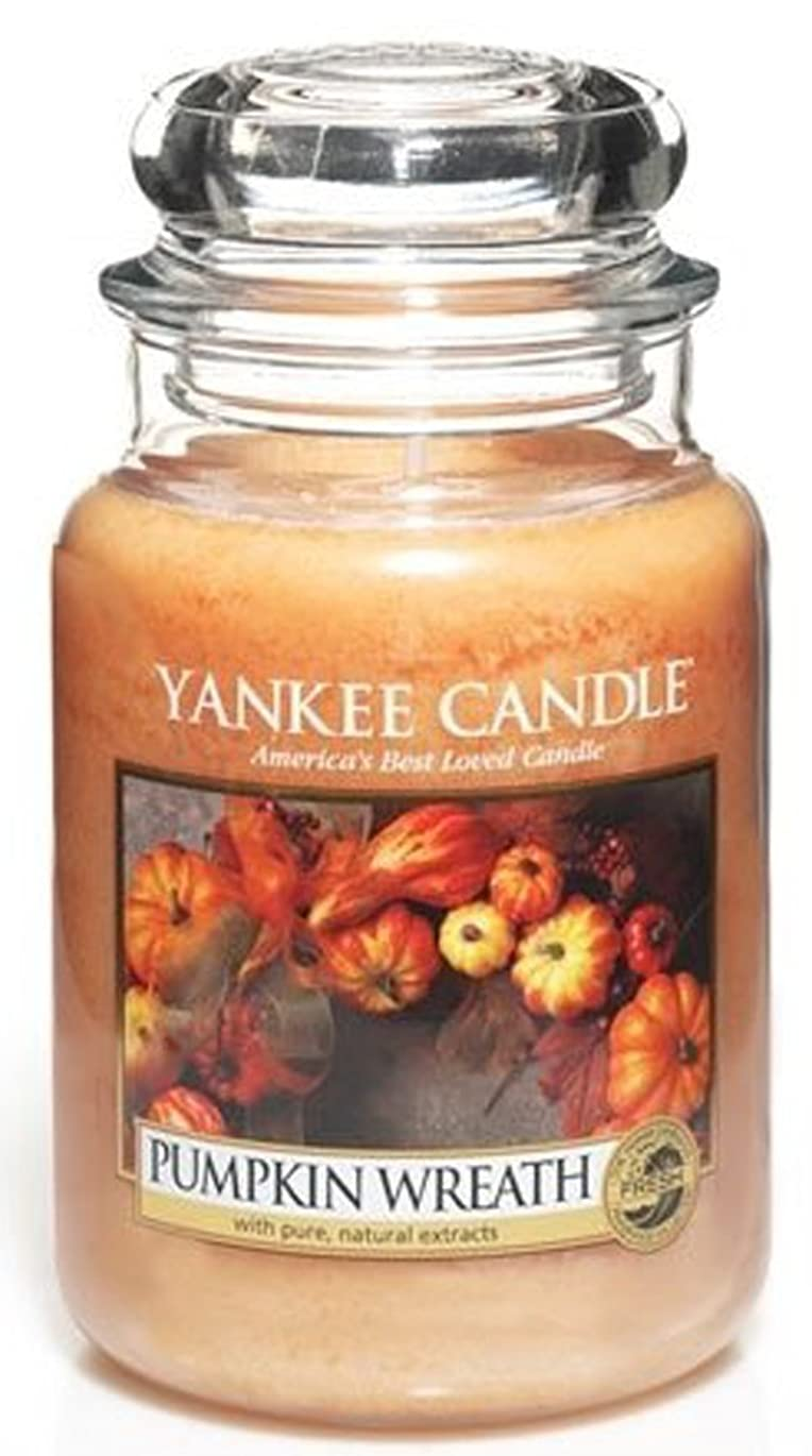 隔離恵みカナダYankee Candle Pumpkin Wreath Large Jar Candle、新鮮な香り