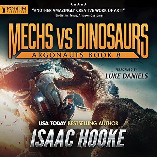 Mechs vs. Dinosaurs audiobook cover art