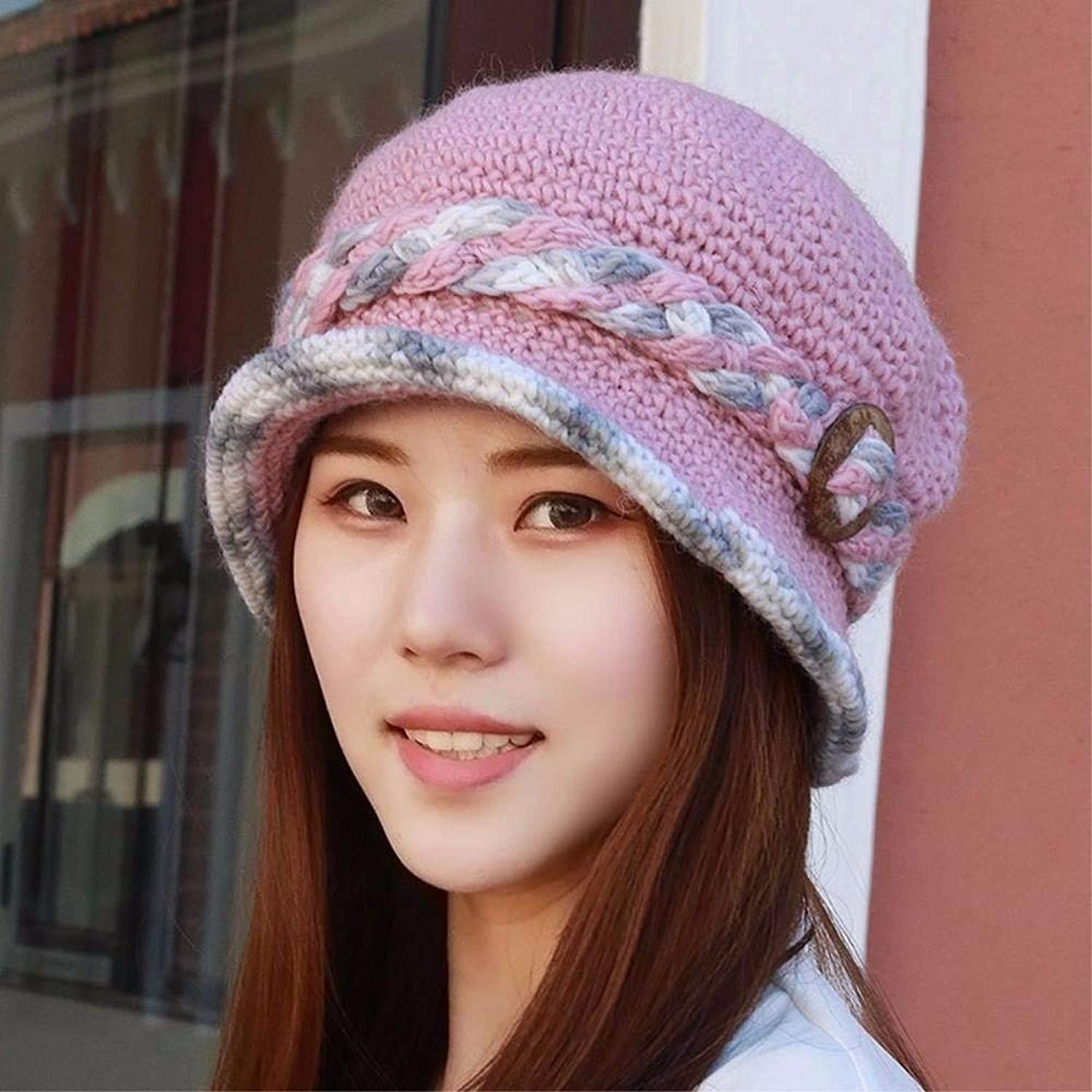 Chuiqingnet All ages thickening plus velvet warm knitting wool cap basin cap fishing cap hat elderly mother.