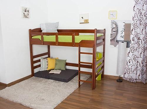 Kinderbett   Hochbett  Easy M l  K14 n, Buche Vollholz massiv Kirschfarben - Ma  90 x 200cm