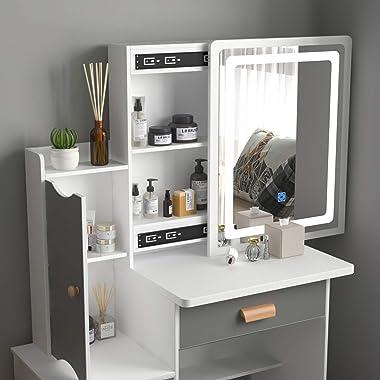 FUFU&GAGA Vanity Set Makeup Vanity Dressing Table with Sliding Lighted Mirror, 4 Drawers & Shelves, Dresser Desk and